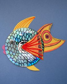 CD Fish--good use of cds that are scratched beyond use. These would be cute hanging in the sunlight too. Fish Activities, Earth Day Activities, Craft Activities For Kids, Crafts For Kids, Seasons Activities, Cd Crafts, Fish Crafts, Arts And Crafts, Cd Fish