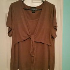 Style & co. Dress top with gold sparkles (226) Brown dress top with gold sparkle in it Style & Co Tops Blouses