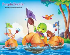Purple, Zing and Squirty are about to take part in an unusual race. Each carves out a pumpkin to sail in the annual Pumpkin Race. Sounds like lots of fun but something goes very wrong! Teaching Activities, Activities For Kids, Teaching Ideas, Early Learning, Kids Learning, Turtle Book, Purple Turtle, Reluctant Readers, School Videos