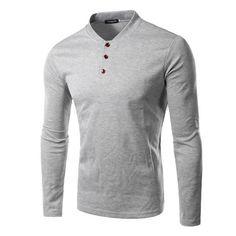 New Men Tee Shirt Homme 2016 Fashion Button V Neck Long Sleeve T shirt Casual Solid Color Henley Shirt Cotton T shirt 14QT15