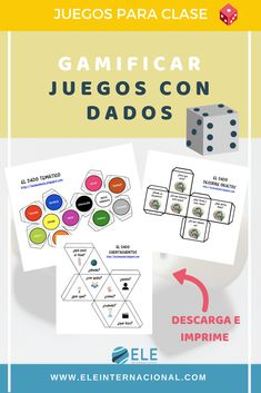 Juegos de mesa para clase de idiomas. Juegos para clase de ELE. Juegos con dados en clase de español. #spanishteacher #claustrodeig #teachmorespanish #profedeele Grammar Games, Vocabulary Games, Activity Games, Fun Games, Activities, Spanish Games, Dual Language, Teaching Spanish, France