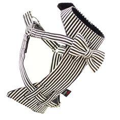 Dog Bow-tie Harness - Black & White Stripes | Dharf