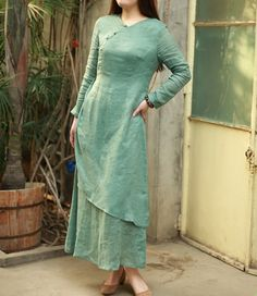 Dual Layer Solid Color Linen Dress, beautifully cut