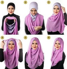 Hijab ♡ ♥ ♡ Model Baju Hijab, How To Wear Hijab, Stylish Hijab, Head Scarf Styles, Hijab Tutorial, Scarf Design, Beautiful Hijab, Turbans, Abayas