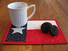 Image detail for -Texas Flag Mug Rugs by on Etsy Texas Quilt, Flag Quilt, Patriotic Quilts, Small Quilts, Mini Quilts, Small Rugs, Quilting Projects, Sewing Projects, Sewing Ideas