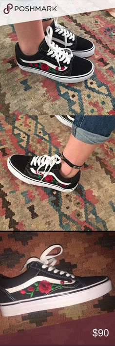 COSTOM rose old skool vans Embroidered rose patch, ironed on and then hand stitched on to old skool vans. If you would like a specific color of shoe or the pink roses let me know! Pick the desired size and order them. None of these are premade so give me Dream Shoes, New Shoes, Vans Shoes, Shoes Sneakers, Shoes Heels, Vanz, Sneaker Boots, Shoe Closet, Custom Shoes