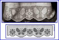 Photo & diagram * Scallop * Non-continious Filet Crochet, Freeform Crochet, Irish Crochet, Double Crochet, Crochet Stitches, Crochet Patterns, Butterfly Cross Stitch, Crochet Butterfly, Borboleta Crochet