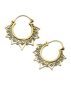 Another great find on #zulily! Goldtone Calipso Hoop Earrings #zulilyfinds