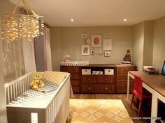 Home Office Nursery Combo Nursery Office Combo, Guest Room Office, E Room, Nursery Room, Kids Room, Home Office, Nursery Storage, Baby Room Design, Toddler Rooms
