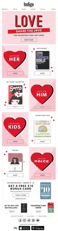 Indigo Valentines Day email marketing design