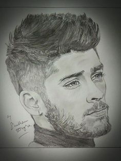 These Celebrity Sketches are Totally Pin-Up-Worthy Pencil Sketch Portrait, Portrait Sketches, Pencil Art Drawings, Art Drawings Sketches, Portrait Art, Portraits, One Direction Fan Art, One Direction Drawings, Zayn Malik Drawing