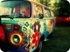 Hippie nostalgic Volkswagen Bus