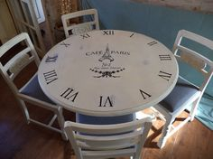 Stunning Shabby Chic Kitchen Table & Four Chairs, Hand Decor. Stunning Shabby Chic Kitchen Table & Four Chairs, Hand Decorated in White Chalk Paint over Frenc Upcycled Furniture, Shabby Chic Furniture, Vintage Furniture, Painted Furniture, Home Furniture, Shabby Chic Kitchen Table, Kitchen Table Redo, Kitchen Tips, Shabby Chic Style