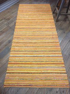 Items similar to Yellow mustard orange green pink black shades rug. Weaving Textiles, Weaving Art, Tapestry Weaving, Hand Weaving, Weaving Projects, Recycled Fabric, Weaving Techniques, Home Decor Furniture, Textile Patterns