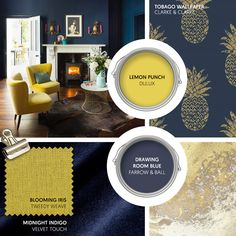 Monday Moodboard - Give deep and decadent navy blue a sunny accent with a splash of canary yellow. Touches of gold and marble will give the room a luxe edge. Living Room Decor Colors, Yellow Room, Snug Room, Blue And Gold Living Room, Drawing Room Blue, Blue Lounge, Dining Room Blue, Yellow Living Room, Blue And Yellow Living Room