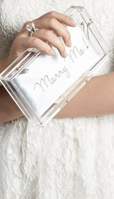 'Marry Me' clutch (clear with pouch inserts - SOOO CUTE!! Comes with leopard insert, lace insert and satin insert)