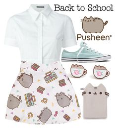 """""""Back to School with Pusheen"""" by angelxalice ❤ liked on Polyvore featuring Pusheen, Alexander McQueen, Converse, contestentry and PVxPusheen"""