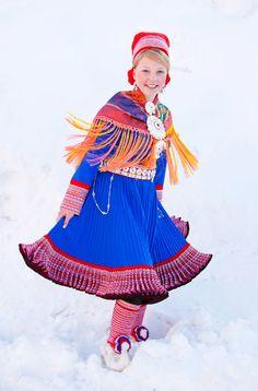 Sami folk costume from Kautokeino.Photo:Laila Duran  Gorgeous colour and pattern