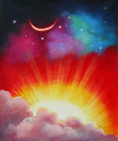 This beautiful canvas art depicts a cresting sun taking command and relieves the celestial bodies of their watch. Inspiring and uplifting, these two heavenly bodies meet for a brief moment, when night