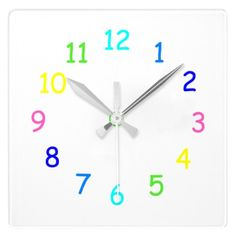 Rainbow Numbers Wall Clock