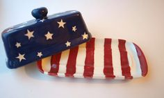 Americana Butter Dish by KreatedbyKymm on Etsy, $18.00