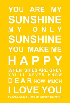 POSTER - You are my Sunshine - hardtofind.