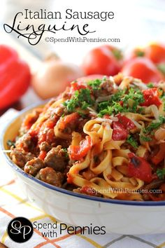 Italian Sausage Linguine... this is pretty much the best pasta dish ever! Italian Entrees, Italian Sausage Recipes, Italian Dishes, Entree Recipes, Pork Recipes, Cooking Recipes, Cooking Ideas, Sauce Recipes, Recipes