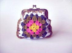 Square Crochet Coin Purse. $15.00, via Etsy.