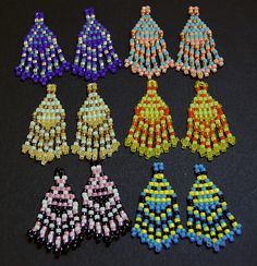 Seed Bead Earrings and Canes: Making Small Designs with a Big Impact Brick Stitch Earrings, Seed Bead Earrings, Seed Beads, Bugle Beads, Fringe Earrings, Beaded Earrings Patterns, Beading Patterns, Beaded Jewelry, Seed Bead Crafts