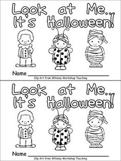 "This emergent reader little book will help young students in your kindergarten class practice early reading skills, while celebrating Halloween!  This story uses a predictable pattern, ""Look at me. I am a ______"" to support emerging readers. The following Halloween costume words are included: cat, cowboy, princess, witch, mummy, pirate, ladybug, bee, detective, and clown."