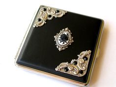 Victorian Gothic Accessories by Le Boudoir Noir jewelry    This beautiful, classy leatherette cigarette case is embellished with highly detailed