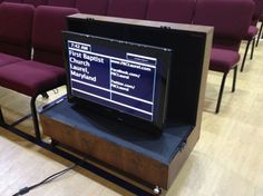 Video display monitor cabinets house confidence monitors for on stage people at our church