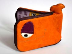 Little Orange and purple Whale leather wallet by ritaboth121, $29.00