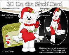 3D On the Shelf Card Kit Little Christmas Bichon Frise Dog on Craftsuprint - View Now!