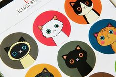 18 Round Cartoon Illustration Paper Sticker Labels. 4cm Diameter. Cats. Rabbits. Bunnies. Gift Wrapping. Decorative