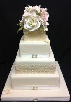 Vintage cake lace, sugar roses, jasmine and hydrangea - by Authenticake @ CakesDecor.com - cake decorating website