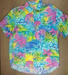 Jams World Casual Shirt Medium Mens Short Sleeve Button Front Oceanic Blue