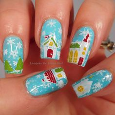 Whoville-style Christmas village mani! I love the whimsy of this look. :) With @winstonia_store Winter Wonderland plate over @spellbound_nails Let It Snow! and stamped with @messymansion stamping polishes. :) #nailstamping #nailartstamping #stampingmani #stampednails #stampingnailart #instamani #prettynails #cutenails #nails2inspire #beauty #naildesign #nailswag #design #ilovenails #beautifulnails #fancyfingers #naildedit #fashion #nailswatches #nailfeature #ignails #ignailcommunity…