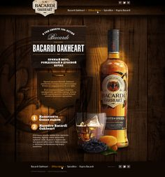 Bacardi Oakheart - Nice attention to detail in the background image and overall presentation. Simple web navigation is a nice UI contrast to the beautiful page.