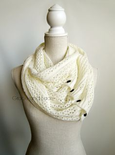 Nellie Knit Scarf - OFFWHITE - open weave knit scarf with button closure infinity scarf - chunky scarf - knit infinity scarf - button scarf on Wanelo
