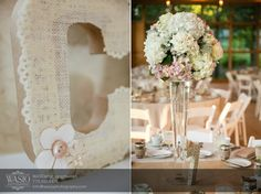 Chicago Wedding Photographer - Rustic Danada House wedding venue -  table flowers