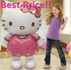 116*65cm Large Size Hello Kitty Cat Foil Balloons Cartoon Birthday Wedding Globos Party Decoration Inflatable Air Ballons