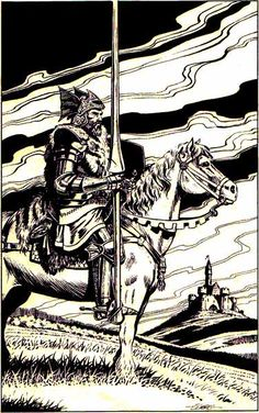 A lord surveys his dominion, by Larry Elmore, from the Mentzer D&D Dungeon Masters Companion: Book Two, TSR, 1984.