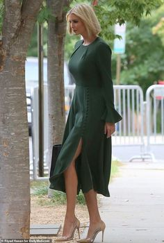 Sidewalk style star: Ivanka Trump showed off some leg as she left her home on Tuesday, wearing a glamorous green dress Ivanka Trump Outfits, Ivanka Trump Photos, Ivanka Trump Style, Ivanka Trump Dress, Ivanka Trump Pumps, Fashion Line, Star Fashion, Women's Fashion, Green Dress Outfit