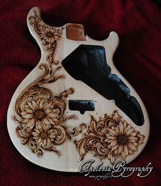 Variax guitar - pyrography custom