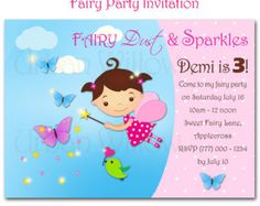 PRINTABLE Teeny Fairy Sparkles invitation. Customized for your child.