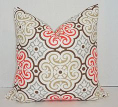 Coral Tan Grey White Floral Print Decorative Pillow by HomeLiving