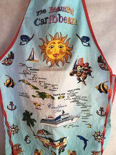 The Beautiful Caribbean Kitchen Apron Pirate, Casino, Bahamas, Aruba, Jamaica  #Unbranded #VintageRetro