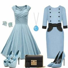 Blue Fashion, Fashion Looks, Colourful Outfits, Outfit Sets, Dress Outfits, Blue Green, Blues, Light Blue, Dresses For Work