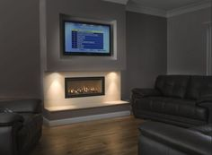 False chimney breast with gas fire and tv